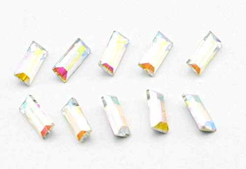 (Catotrem Baguette Rhinestone Pointback Crystal Stone Silver Plated for Nails Art Decoration(3x7mm/120pcs) AB)