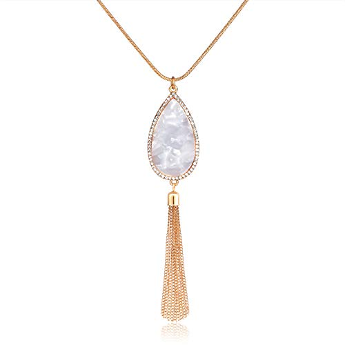 HSWE Long Necklace for Women Crystal Resin Teardrop Pendant Necklace Fringe Tassel Necklace Y Lariat Necklace Statement Boho Acrylic Acetate Pendants Sweater Necklace (Marble White)