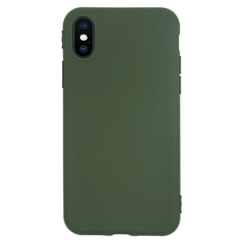 iPhone X Case, Manleno Slim Fit Full Matte Skin Case 1.5mm Thick Soft Flexible TPU Cover Case for iPhone X Edition (Matte Hunter - Green Matte