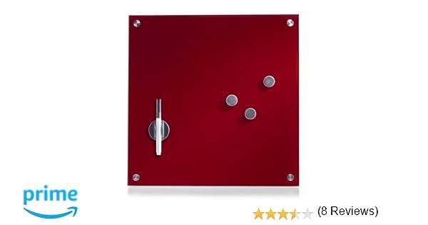 Zeller-Present - Pizarra magnética de Cristal (40 x 40 cm), Color Rojo