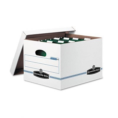 (Bankers Box 00785 - Hang 'N' Stor Storage Box, Legal/Letter, Lift-off Lid, White/Blue, 4/Carton)