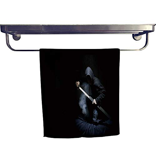 - Cotton Beach Towel, Ninja with Sword at Night in Smoke,Absorbent, Machine Washable, Towel W 12
