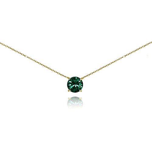 Yellow Gold Flashed Sterling Silver Green Solitaire Choker Necklace set with Swarovski Crystal