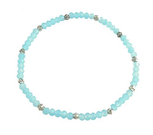 - Stretch Bead Ankle Bracelet Anklet - Creamy Aqua (A109)