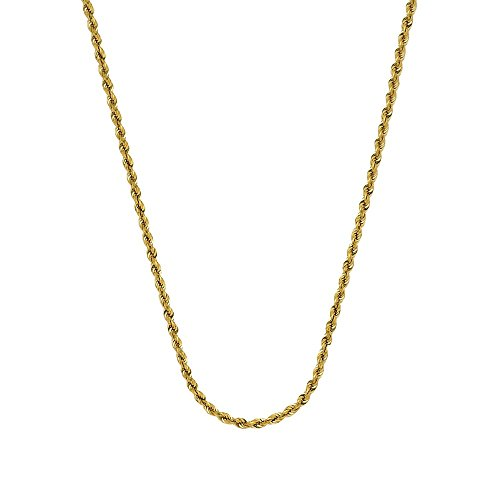 14k Yellow Gold Sparkle-Cut Rope Chain Necklace 1.56mm Lobster Claw Closure - 24 (Yellow Gold Sparkle)