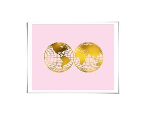 (World Map Gold Foil Art Print. Gold. Silver. Copper. 36 Colours/3 Sizes. Double Hemisphere Map)