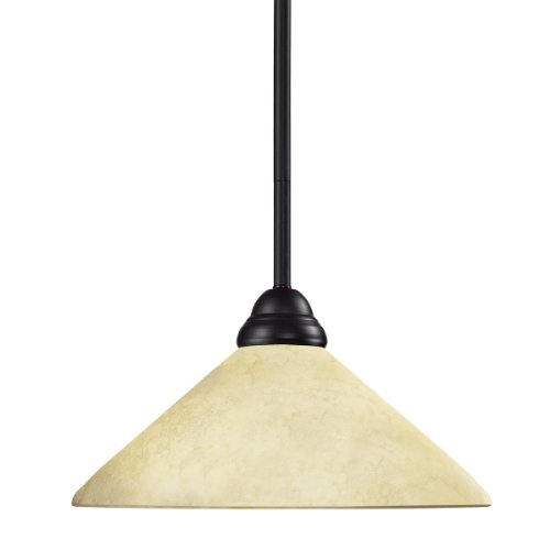 (Z-Lite 2114MP-BRZ-AGM14 Riviera One Light Pendant, Steel Frame, Bronze Finish and Golden Mottle Shade of Glass Material)