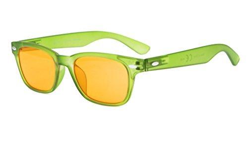 Eyekepper Blue Light Blocking Reading Glasses Sleep Glasses Prevent Eye Strain Game Eyewear Dark Orange Lenses (Matte Green Frame,+1.25)