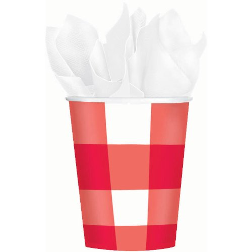 Online Stores, Inc. Red Gingham Paper Cups 9 Oz. Package Of 8