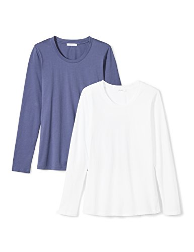 Daily Ritual Women's Lightweight 100% Supima Cotton Long-Sleeve Crew Neck T-Shirt, 2-Pack