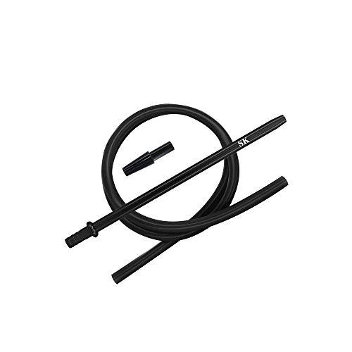 Shisha King® Silikonschlauch Set mit Mundstück & Endstück – für alle Wasserpfeifen – Premium Shisha Zubehör… (Black)