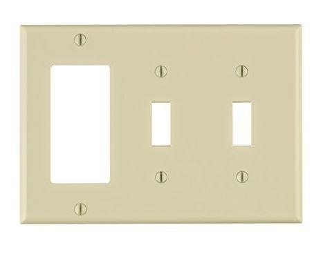 Leviton 80421-T 3-Gang 2-Toggle 1-Decora/GFCI Device Combination Wallplate, Standard Size, Thermoset, Device Mount, Light Almond -