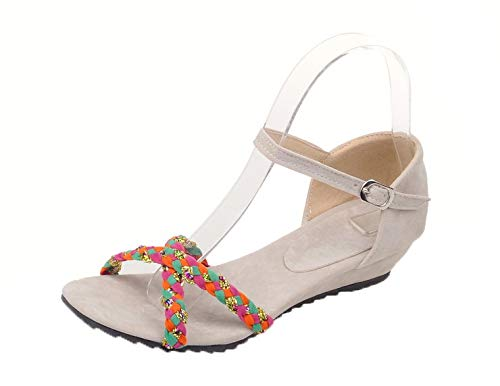 VogueZone009 Women Frosted Buckle Open-Toe Low-Heels Assorted Color Sandals, CCALO013027 Beige