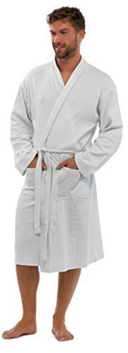 Buy mens waffle dressing gown white - 3