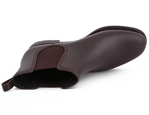 Burgundy Boots Chelsea Ankle Women Shoes MaxMuxun Waterproof nvqgUA6xZw