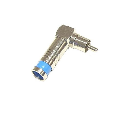 Rg6 Rca Quad Shield - RCA RG6 Quad Shield Compression Connector Right Angle 90 Degree Permaseal Coaxial Cable Male Adapter F to RCA 1 Pack Stereo Cable Connector Audio Video Hook-Up