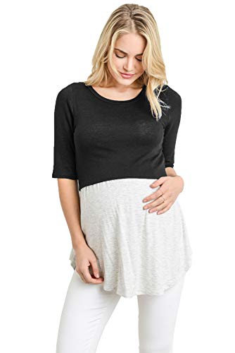Hello MIZ Women's Empire Waist Babydoll Maternity Nursing Top (Black/Ash Grey, Large) -