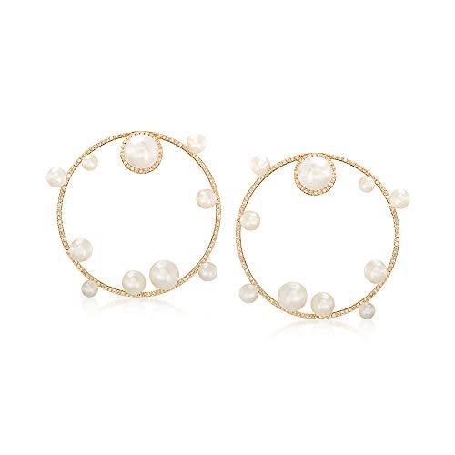Ross-Simons Cultured Pearl and Diamond Circle Drop Earrings