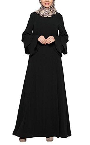 ouxiuli Women's Bell Sleeve Lace Trim Solid National Costume Muslim Dress with Belt Black (China National Dress Costume)