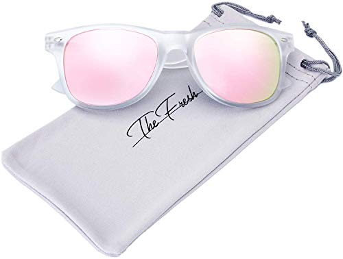The Fresh Matte Frosted Frame Reflective Colored Mirror Lens Horn Rimmed Sunglasses with Gift Box (2-Frost, Pink Mirror) (Trendige Sunnies)