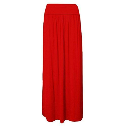 pliss Mesdames 8 Tailles Taille longueur Red 10 14 Jupe replie sur Femmes se Jersey Gypsy Maxi Viscose longue 12 BFBwH