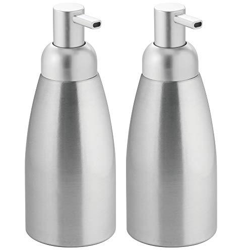 (mDesign Modern Aluminum Metal Refillable Soap Dispenser Pump Bottle for Bathroom Vanity Countertop, Kitchen Sink - Holds Dish Soap, Hand Sanitizer, Essential Oils - Rust Free, 2 Pack - Brushed/Silver)
