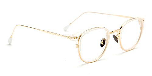 TIJN New Classic Oval Eyeglasses Frame Clear Lens with Metal - White Sunglases