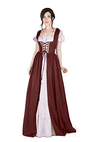 - Boho Set Medieval Irish Costume Chemise and Over Dress (L/XL, Burgundy/White)