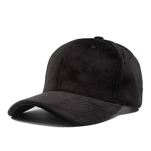 (General purpose Autumn and Winter Velvet Baseball Cap Lovers Wild Solid Color hat Adjustable dad hat 【Black】)