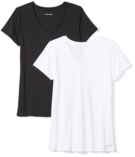 (Amazon Essentials Women's 2-Pack Tech Stretch Short-Sleeve V-Neck T-Shirt, Black/White, Medium)