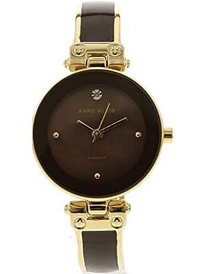 Anne Klein Womens Goldtone Diamond Dial Watch