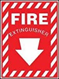 Accuform Signs® 10'' X 7'' White And Red 0.040'' Aluminum Extinguisher Sign ''FIRE EXTINGUISHER (With Down Arrow)'' With Round Corner