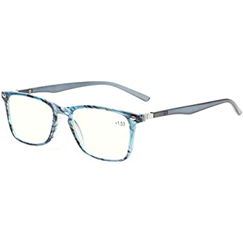 2ae730a2ac Computer Reading Glasses Blue Light Blocking Readers Men and Women Glasses  of Reading (Blue Stripe