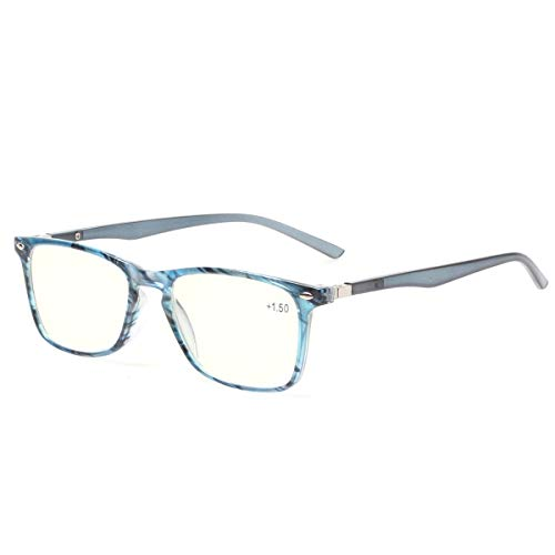 Computer Reading Glasses Blue Light Blocking Readers Men and Women Glasses of Reading (Blue Stripe, 0.5)