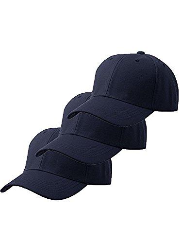 Unisex Plain Structured Curved Visor Adjustable Velcro Baseball Cap Hat - 3-Pk navy navy (Structured Adjustable Baseball Hat)