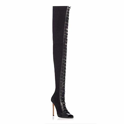 Stiletto Mujer Elegant shoes Tie Para Botas amp; Fiesta Moda Tacón Invierno Denim Black high Negro vffIpxa