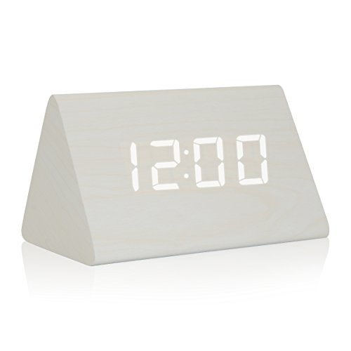 GZMAY Triangle Wooden Alarm Clock Acoustic Control LED Digital Clock 3 Levels Adjustable Brightness 3 Groups of Alarm Time with Displays Time Date Temperature and Humidity - Acoustic Triangle