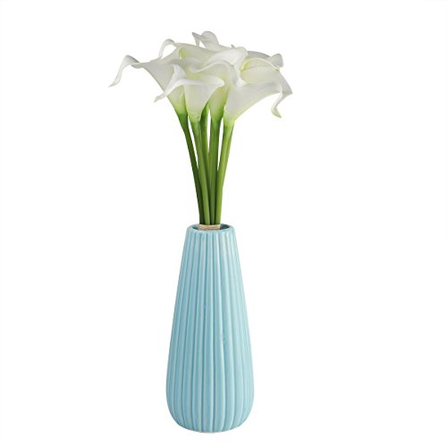 ne Artificial Flowers Wedding Home Decoration Flowers Floral Fragrance True Texture (9 White Calla Lily, 1 Pack) ()
