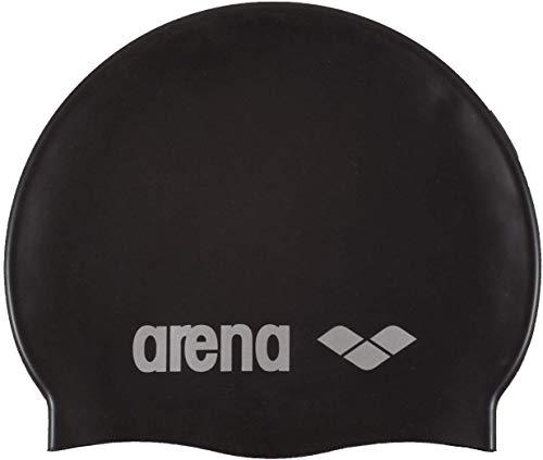 arena Classic Silicone Swim Cap, Black / Silver