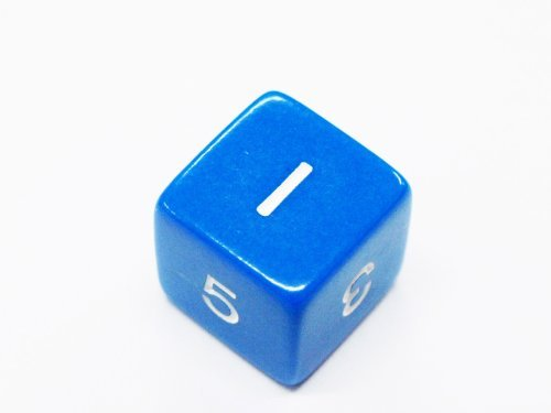Set of 6 D6 Six-Sided 16mm Opaque Numbered Dice - Blue with White Numbers