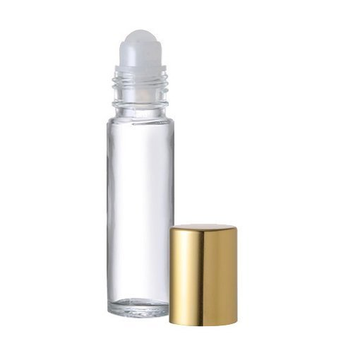 12 .33 Fl. Oz./10 ml. Plain Glass Roll on Bottles with Balls and Gold Caps Perfume Roller Bottles Lip Balm, Lip Gloss