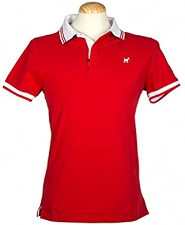 Polo Liso Rojo Cuello Blanco Hombre - Color - Rojo, Talla - XXL ...