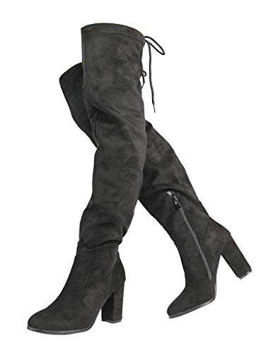 DREAM PAIRS Women's New Shoo Black Over The Knee High Heel Boots Size 6.5 B(M) US