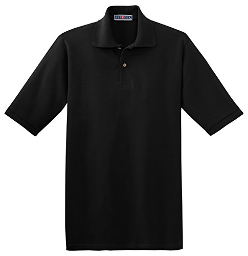 Jerzees Men's Welt Knit Collar 2 Button Placket Polo Shirt, Large, Black