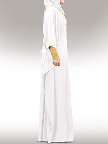 MyBatua Neelam or brodé blanc Kaftan islamique robe KF-003 WH