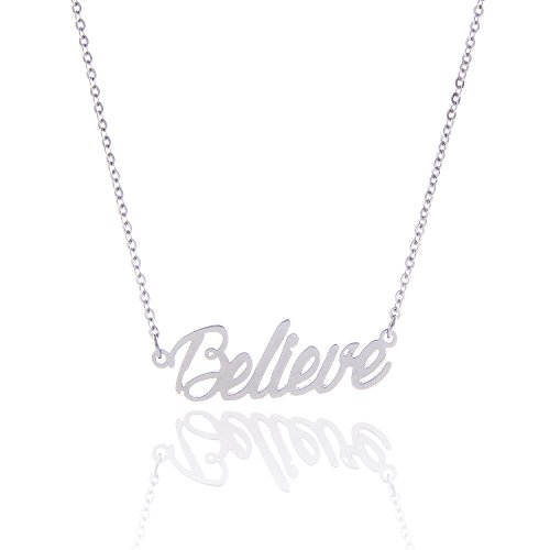Huan Xun Stainless Steel Encourage Tiny Monogram Script Trust Necklace Jewelry  Believe