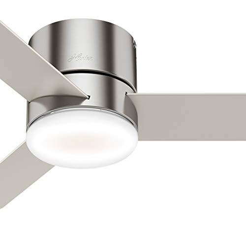 Hunter Fan 44 inch Low Profile Brushed Nickel Indoor Ceiling Fan with Light Kit and Remote Control (Renewed) (Hunter 44 In Brushed Nickel Ceiling Fan)
