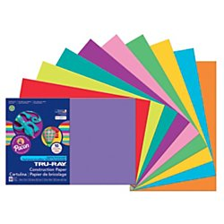 Pacon Tru-Ray Construction Paper Assortments, 12-Inches by 18-Inches, 50-Count, Bright Assorted (102941)