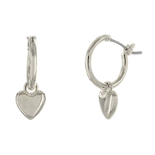Columbus Rhodium Plated Heart Charm Huggie Hoop Earrings - Dangle Heart Drop Earrings - Small Sleeper Hoops (Silver Hearts)