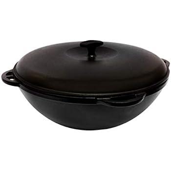 Enameled Cast Iron Wok Kazan for Making Pilaf/Plov Dutch Oven with Dual Handles Large Cooking Pot (6.3-qt. (6 L))